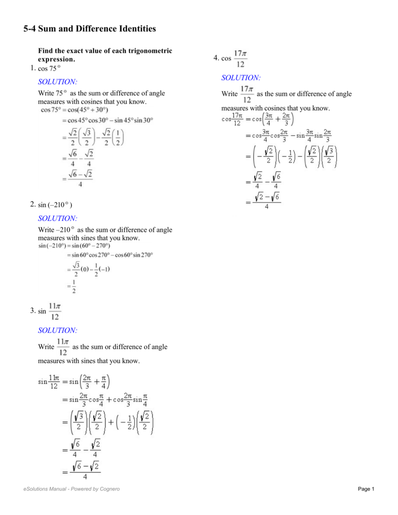 5-4 Sum and Difference Identities