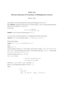 CSCI 124 Discrete Structures II: Existence of Multiplicative Inverse