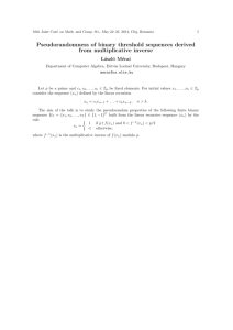 Pseudorandomness of binary threshold sequences derived from
