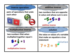 inverse operation additive inverse multiplicative inverse solution