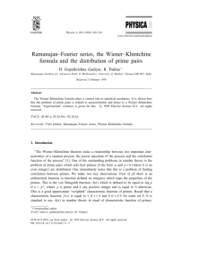 Ramanujan–Fourier series, the Wiener–Khintchine