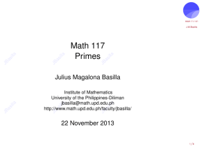 3 December 2013: Primes - Institute of Mathematics
