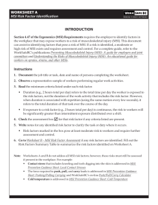 WORKSHEET A — MSI Risk Factor Identification