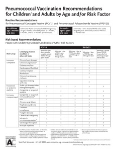 Pneumococcal vaccination recommendations for children and adults