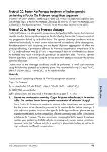 Protocol 20. Factor Xa Protease treatment of fusion proteins