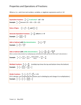 Properties and Operations of Fractions