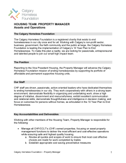 HOUSING TEAM: PROPERTY MANAGER Assets and Operations