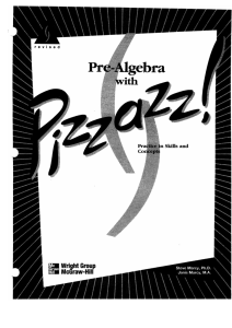 Pre-Algebra With Pizzazz