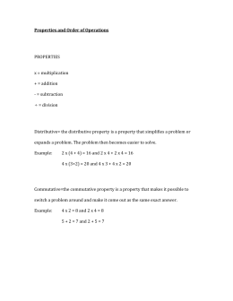 Properties and Order of Operations PROPERTIES x = multiplication