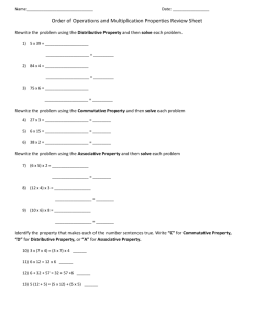 Order of Operations and Multiplication Properties Review Sheet