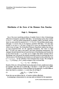 Distribution of the Zeros of the Riemann Zeta Function Hugh L