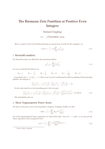 The Riemann Zeta Function at Positive Even Integers