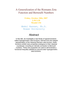 A Generalization of the Riemann Zeta Function and Bernoulli