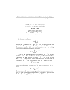 The Riemann Zeta function and associated polynomials