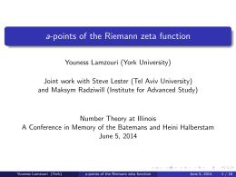 a-points of the Riemann zeta function