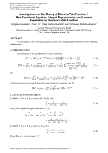 Investigations on the Theory of Riemann Zeta Function I
