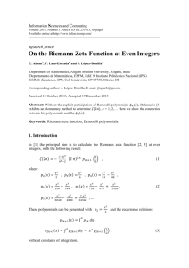 On the Riemann Zeta Function at Even Integers