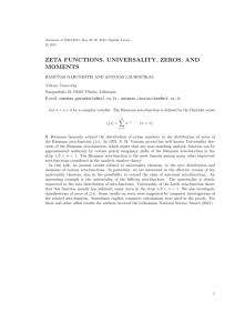 ZETA FUNCTIONS. UNIVERSALITY, ZEROS, AND MOMENTS