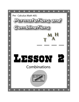 Pre-Calculus Math 40S - Permutations and Combinations Lesson 2