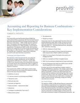 Accounting and Reporting for Business Combinations