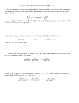 Partial Fractions Decomposition