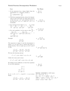 Partial Fraction Decompostion Worksheet