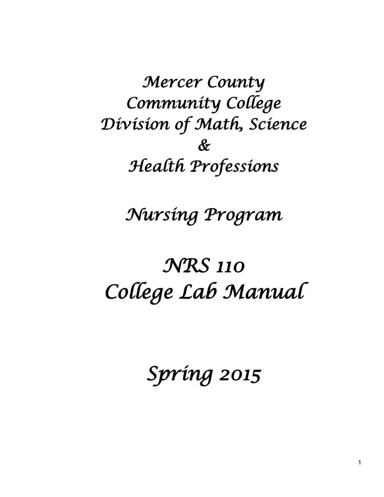 NRS 110 College Lab Manual Spring 2015