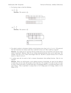 Mathematics 320: Groupwork Section 6.2 Fractions: Addition