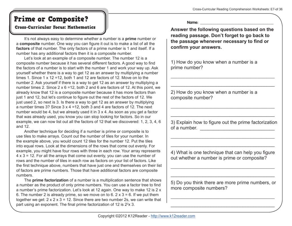 - Cross-Curricular Reading Comprehension Worksheets