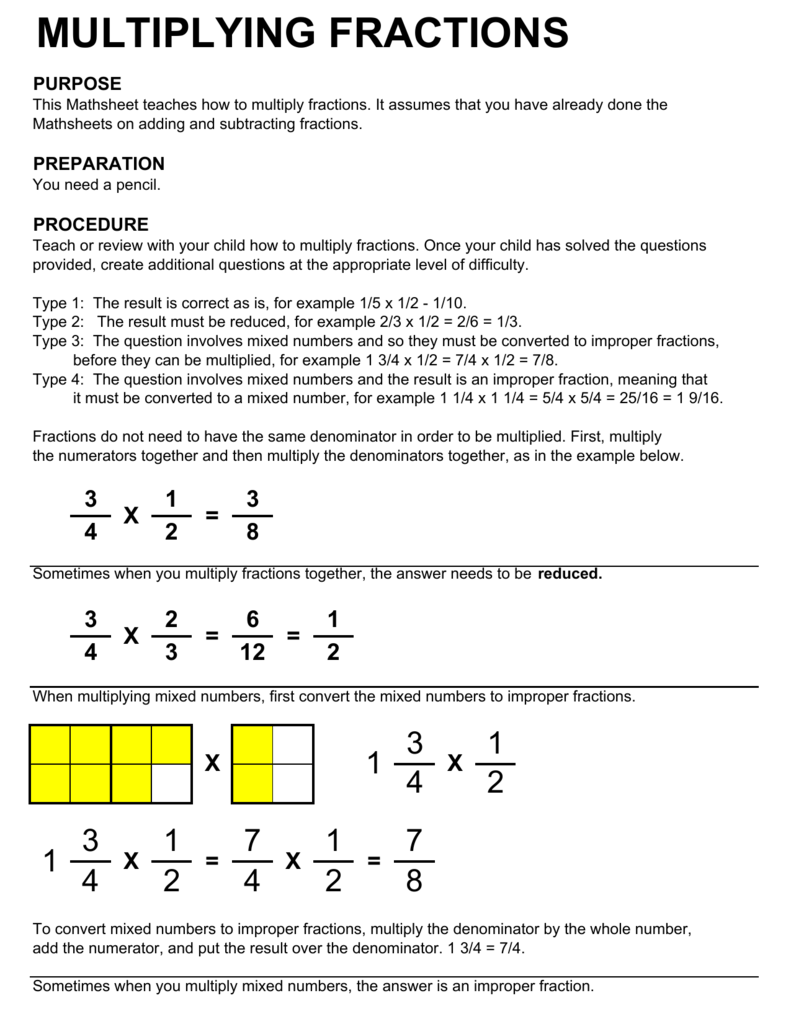 multiplying fractions - society for quality education