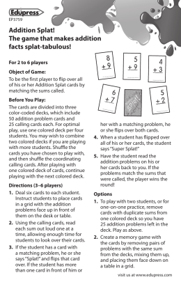 Addition Splat! The game that makes addition facts splat