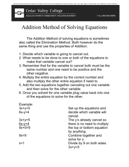 Addition Method of Solving Equations
