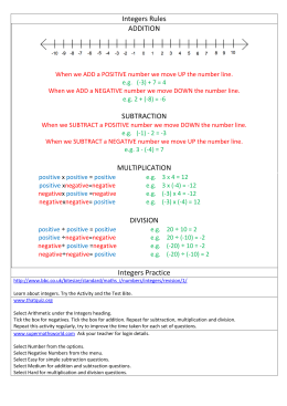 Integers Rules ADDITION SUBTRACTION MULTIPLICATION