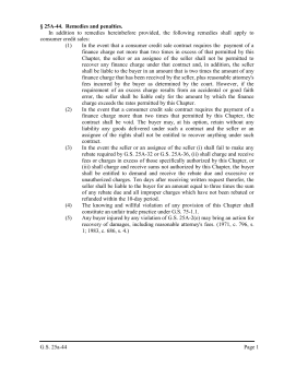 G.S. 25a-44 Page 1 § 25A-44. Remedies and penalties. In addition