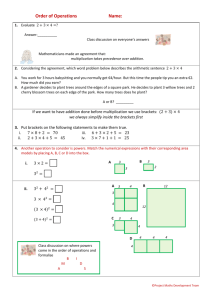 Student worksheet on order of operations