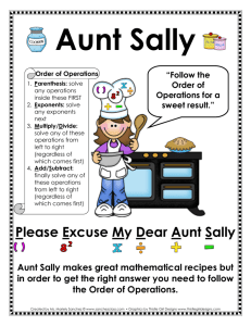 Aunt Sally - Ms. Sanchez` Fourth Grade Class