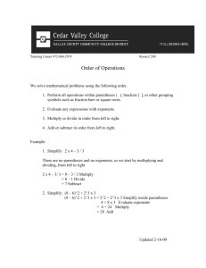 Order of Operations - Cedar Valley College