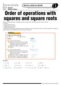 Order of operations with squares and square roots
