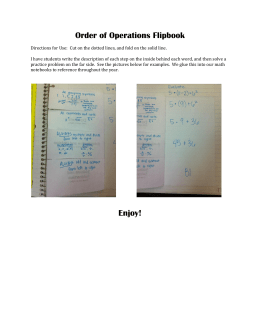 Order of Operations Flipbook Enjoy!