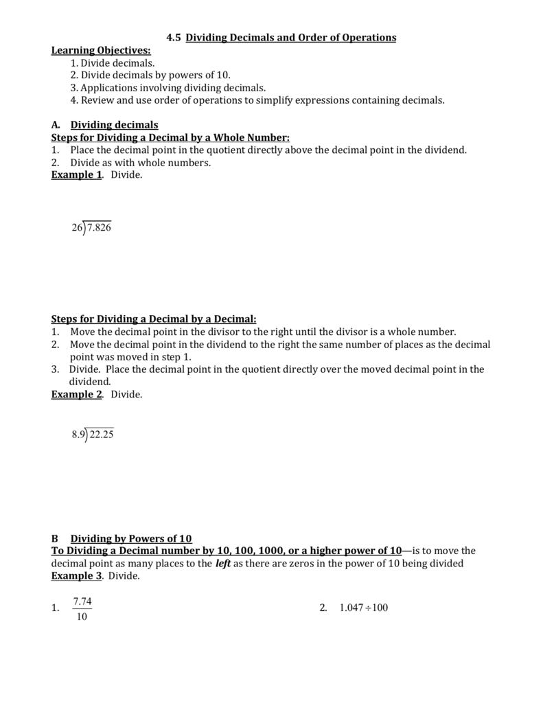 4.5 dividing decimals and order of operations