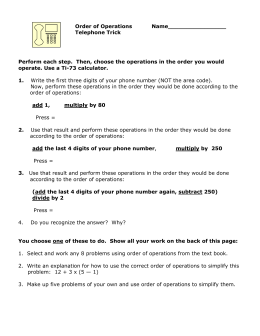 Order of Operations Telephone Trick Worksheet