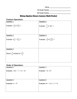 Fraction Operations Order of Operations