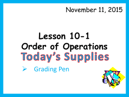 Lesson 10-1 Order of Operations Day 1