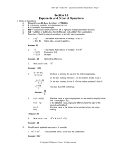 Section 1.8 Exponents and Order of Operations