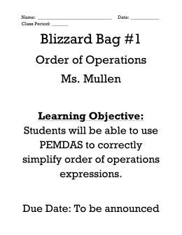 Blizzard Bag #1 - Order of Operations