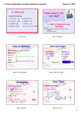 1.1 Order of Operations and Basic Equations.notebook