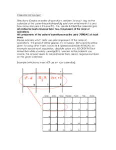 Calendar mini-project Directions: Create an order of operations