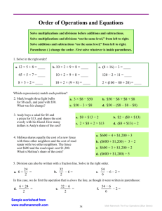 Order of Operations & Equations