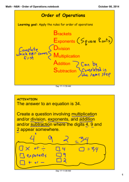 Math - N&N - Order of Operations.notebook