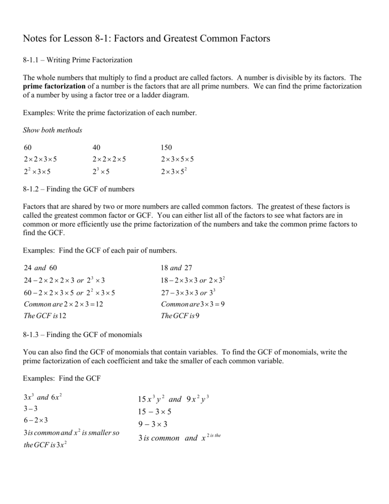 Notes For Lesson 8 1 Factors And Greatest Common Factors